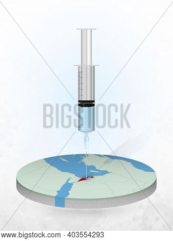 Vaccination Of Israel, Injection Of A Syringe Into A Map Of Israel. Vector Illustration Of A Syringe