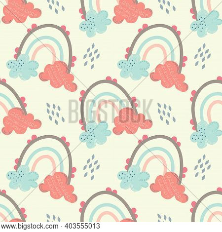 Scandinavian Seamless Pattern With Rainbows And Clouds On A Light Background With Droplets. Vector I