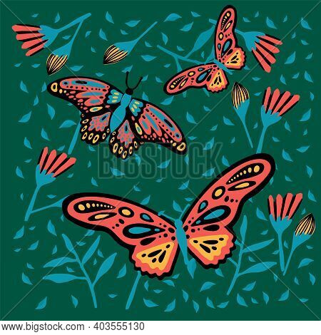 Postcard With A Butterfly In The Rainforest. The Doodle Depicted A Hovering Moth Colored Moths, Wing