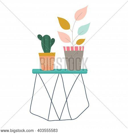 A Cactus And Flower On A Pedestal In Flat Scandinavian Hooge Style Are Isolated On A White Backgroun