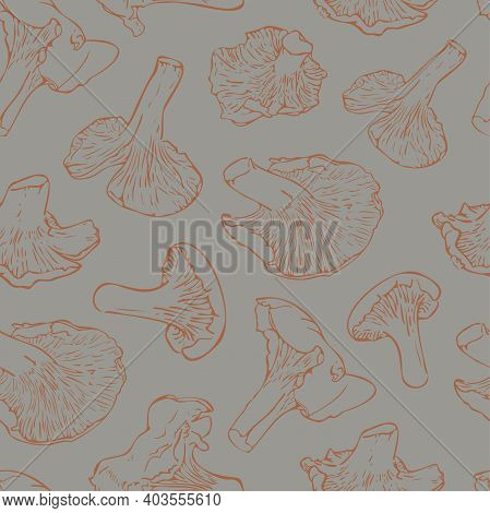 Vector Seamless Pattern With Mushrooms On A Grey Background. Ginger Cantharellus Mushrooms Pattern.