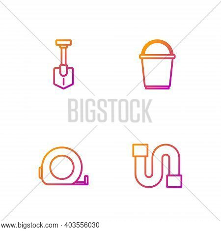 Set Line Industry Pipe, Roulette Construction, Shovel And Bucket. Gradient Color Icons. Vector