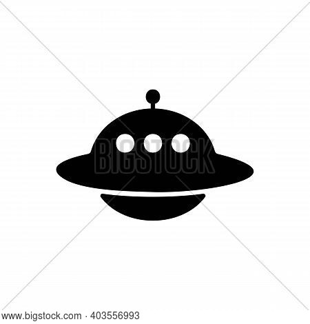 Ufo Icon In Black. Spaceship Sign. Alien Concept. Vector Eps 10. Isolated On White Background.