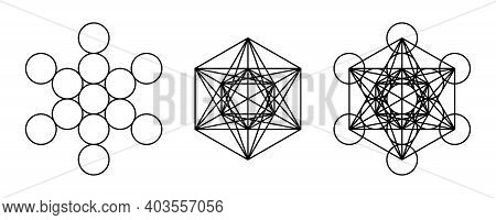 Components Of Metatrons Cube. Mystical Symbol, Derived From The Flower Of Life. All Thirteen Circles