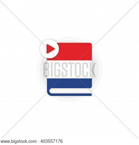 Dutch Language Course Audiobooks Icon. Dutch Dictionary. Distance Education. Online Web Seminar. Vec