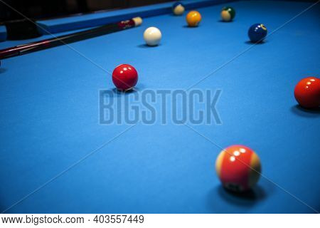 Cue Sports Scenery With Billiard Balls In Blue Ambiance