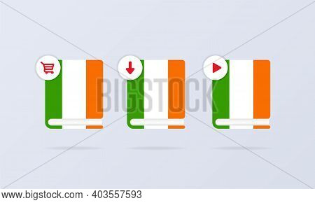 Irish Language Online Course Icon Set. Distance Education. Irish Dictionary. Audiobooks Concept. Vec