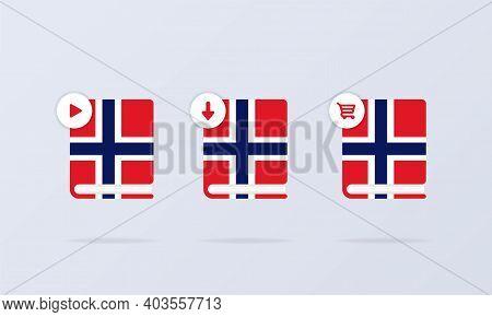 Norwegian Language Online Course Icon Set. Distance Education. Norwegian Dictionary. Audiobooks Conc
