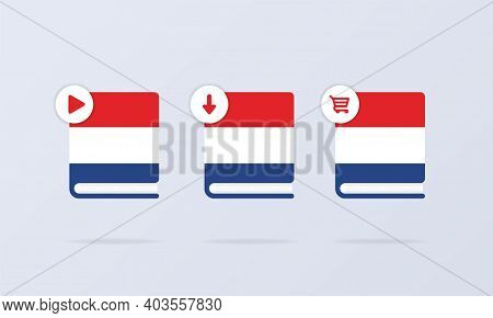 Dutch Language Online Course Icon Set. Dutch Dictionary. Audiobooks Concept. Vector Eps 10. Isolated