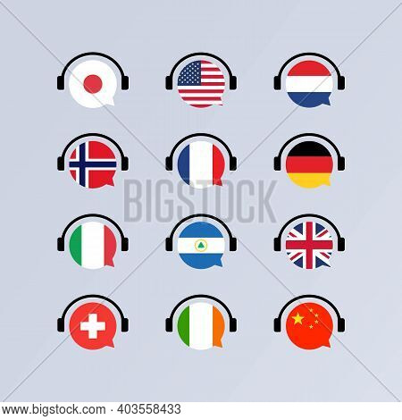 Learning Languages Online Course Icon Set. Audiobooks Concept. Language School Concept. Vector Eps 1