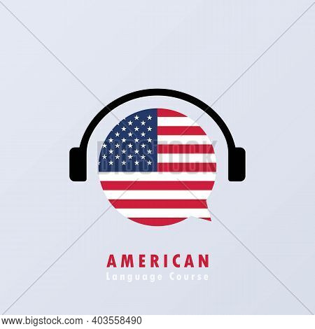 American Language Course Banner. Learning Foreign Language. Creative English Class Fluent Concept Sp