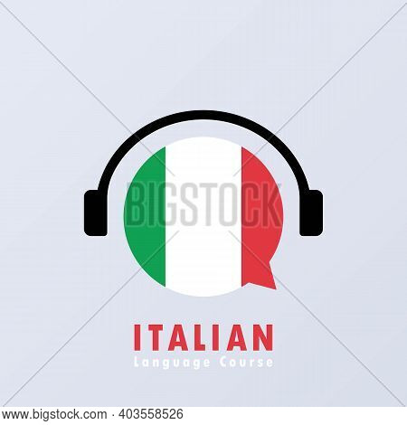 Italian Language Course Banner. Learning Foreign Language. Online Education. Vector Eps 10. Isolated