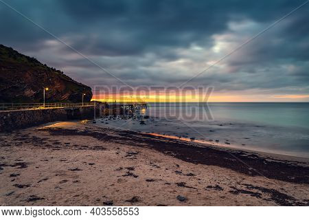 Second Valley Beach With Jetty At Dusk In South Australia