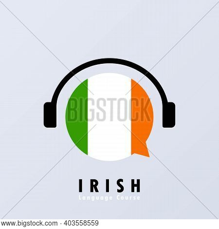 Irish Language Course Banner. Online Learning. Vector Eps 10. Isolated On Background.