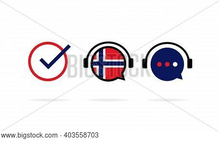 Norwegian Language Course Banner. Distance Education. Vector Eps 10. Isolated On White Background.