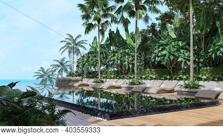Tropical Style Black Swimming Pool Terrace With Sea View 3d Render,there Has Wooden Floors,decorate