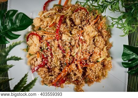 Udon Noodles With Chicken And Peppers - Japanese Cuisine. Top View.