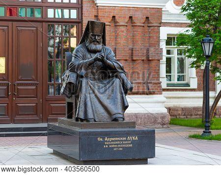 Krasnoyarsk, Russia - May 11, 2020: Monument To Saint Luke The Blessed Surgeon. Archbishop Luka Of S