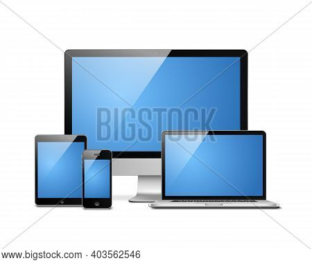 Notebook, Tablet, Desktop And Mobile. Electronic Devices Templates Vector Illustration