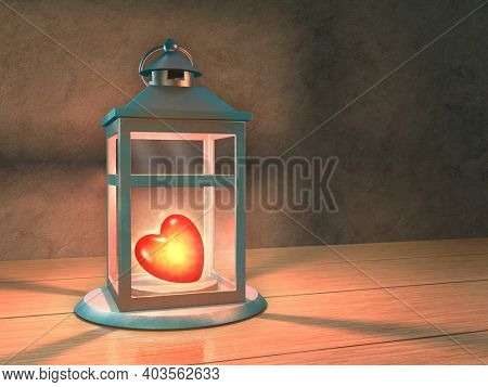 Glowing heart in a lantern. 3D illustration.