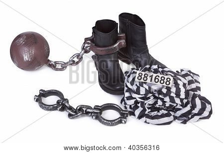 prisoner's attributes on white background, gentle natural shadow beeetween objects poster