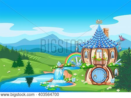 Magic Little House Decorated With Blue Crystals On The Background Of A Fairy Tale Landscape. Fairy H