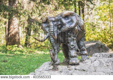 Ljubljana, Slovenia, October 2020: Bronze Statue Of An Elephant At The Ljubljana Zoo
