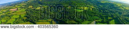 Above View, Wide Skyline Panorama, Over Green Hilly Landscape, Several Cultivated, Arable Plots, Amo