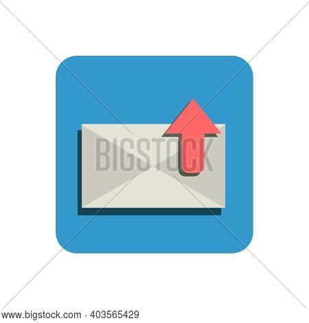 Flat Icon Of Outgoing Message In Blue Square Vector Illustration