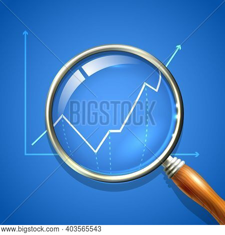 Magnifier And Chart Analysing Business Finance Diagnostics Data Search Concept Vector Illustration