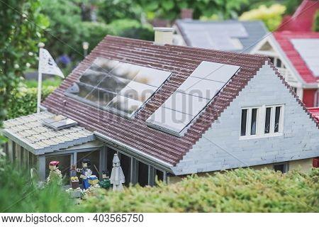 Billund, Denmark, July 2018: Solar Panels On The Roof Of A Toy House In Legoland