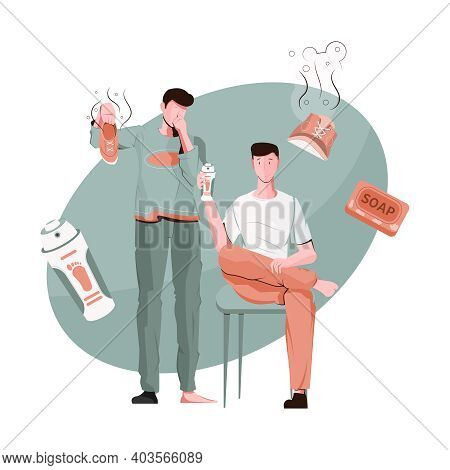 Men Problem Composition With Smelly Feet Shoes And Deodorant Icons Flat Vector Illustration