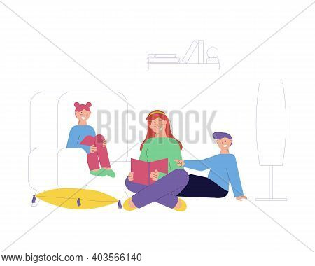 Nanny Reading With Kids In Their Room Flat Vector Illustration