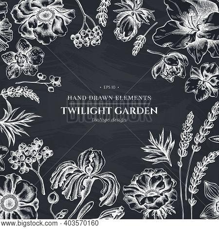 Floral Design With Chalk Anemone, Lavender, Rosemary Everlasting, Phalaenopsis, Lily, Iris Stock Ill