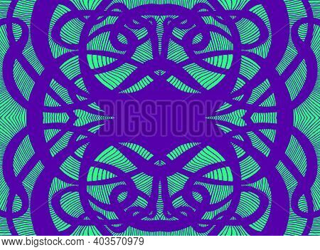 Curly Doodle Psychedelic Abstract Background With Decorative Mandala Purple Outline Color, Isolated