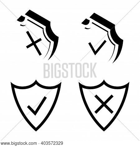 Shield Security. Armor Plate. Security And Protection Outline Icons. Check Mark Icons. Symbols Of Ch