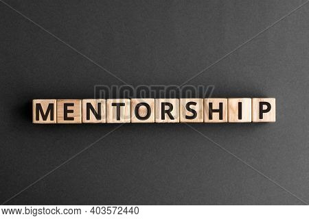 Mentorship - Word From Wooden Blocks With Letters, Mentoring Mentorship Concept,  Top View On Grey B