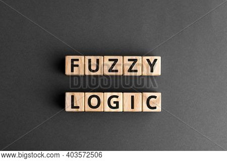 Fuzzy Logic - Phrase From Wooden Blocks With Letters Fuzzy Logic Concept, Top View Gray Background