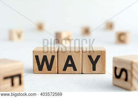 Way - Acronym From Wooden Blocks With Letters, Where Are You Abbreviation Way Concept, Random Letter