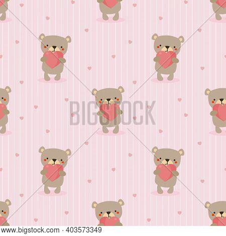 Cute Bear Hold A Heart Seamless Pattern