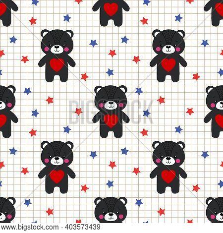 Cute Black Bear Hold Heart Seamless Pattern
