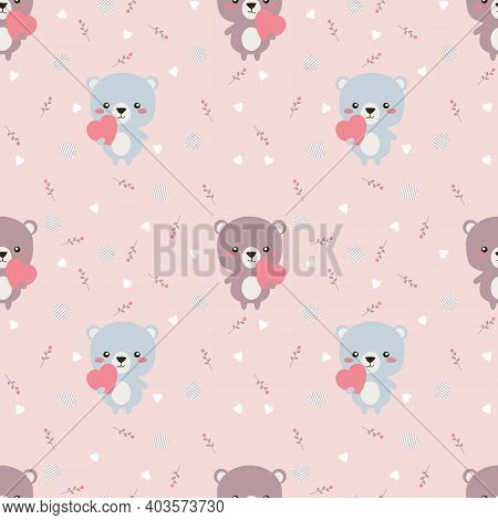 Lovely Bear Hold A Pink Heart Seamless Pattern