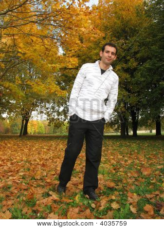Man In Autumn Park