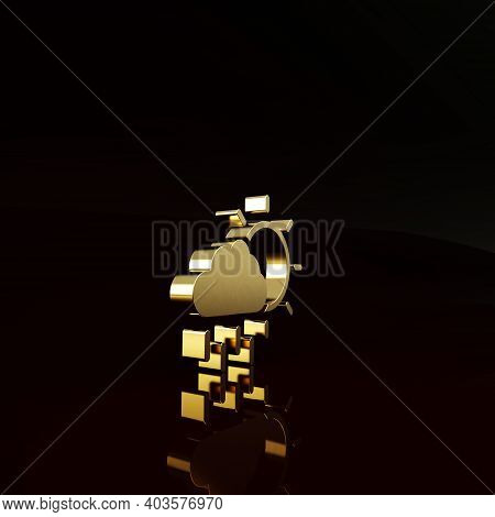 Gold Cloud With Rain And Sun Icon Isolated On Brown Background. Rain Cloud Precipitation With Rain D
