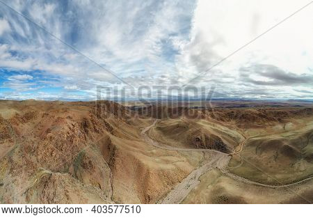 Dry mountain valley. Western mongolia. Aerial panorama