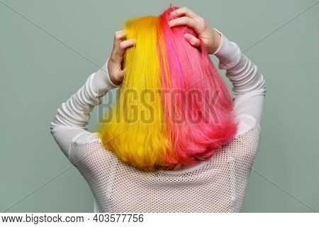 Dyed Long Hair, Two Colors, Back View, Girl Fashion Model Showing Coloring On Her Hair, Green Studio