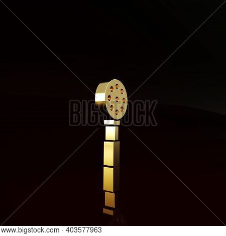 Gold Spatula Icon Isolated On Brown Background. Kitchen Spatula Icon. Bbq Spatula Sign. Barbecue And