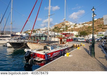 Ios, Greece - September 21, 2020: Boats Moored In Main Port Of The Island Of Ios. Cyclades Islands,