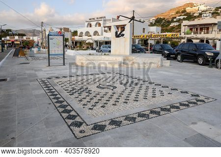 Ios, Greece - September 21, 2020: Main Square With Mosaic Pavement In Chora Harbor On Ios Island.