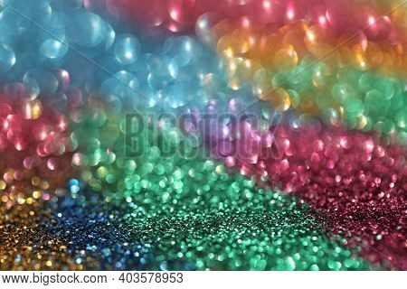 Wallpaper Phone Shining Glitter.glitter Radiance Surface. Multicolored Glitter With Shining Bokeh.fe